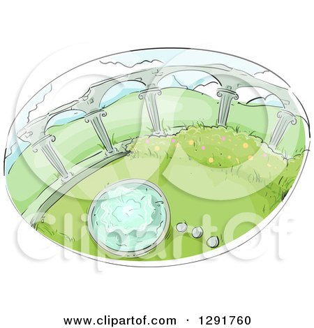 Sketched Oval Scene of a Garden with Columns and Water Fountain Posters, Art Prints