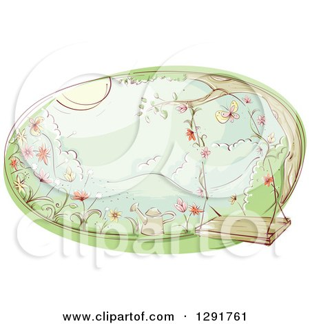 Clipart of a Sketched Oval Scene of a Swing and Watering Can in a Flower Garden - Royalty Free Vector Illustration by BNP Design Studio