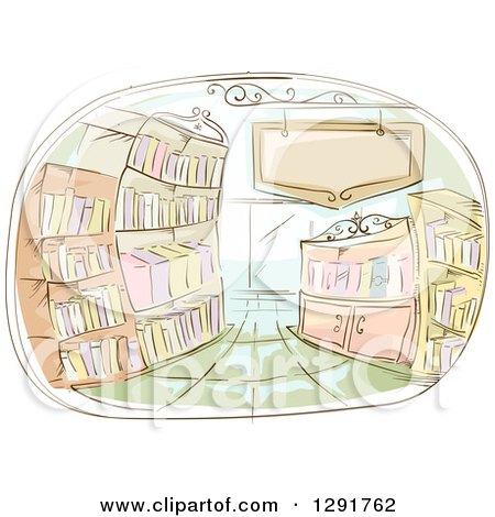 Clipart of a Sketched Oval Scene of a Library Interior - Royalty Free Vector Illustration by BNP Design Studio