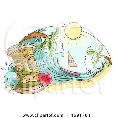 Clipart of a Sketched Oval Scene of a Tiki, Sailboat, Wave and Palm Trees - Royalty Free Vector Illustration by BNP Design Studio