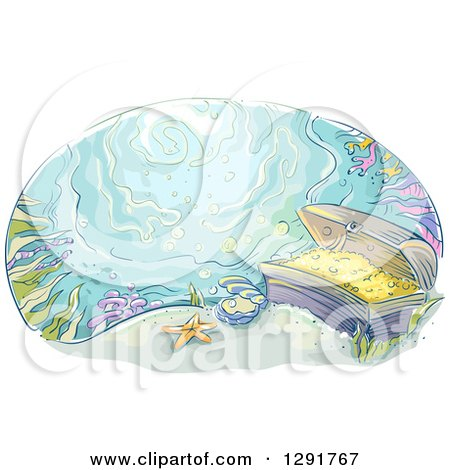 Clipart of a Sketched Oval Scene of Sunken Treasure at the Bottom of the Ocean - Royalty Free Vector Illustration by BNP Design Studio