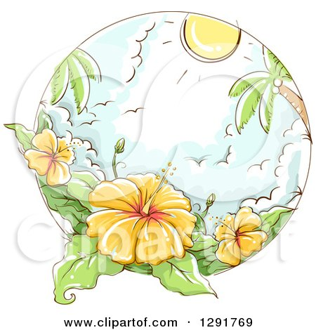 Clipart of a Sketched Scene of Tropical Yellow Hibiscus Flowers, Palm Trees, Gulls and Sunshine - Royalty Free Vector Illustration by BNP Design Studio