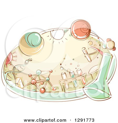 Clipart of a Sketched Oval Scene of a Science Lab with Flasks, Dna, Molecules and Beakers - Royalty Free Vector Illustration by BNP Design Studio