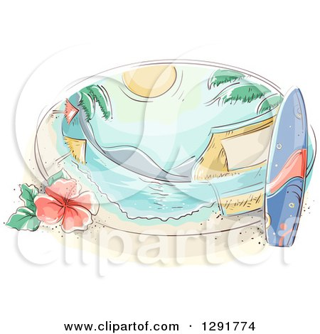 Clipart of a Sketched Oval Scene of a Tropical Beach with a Surfboard, Hibiscus and Umbrellas - Royalty Free Vector Illustration by BNP Design Studio