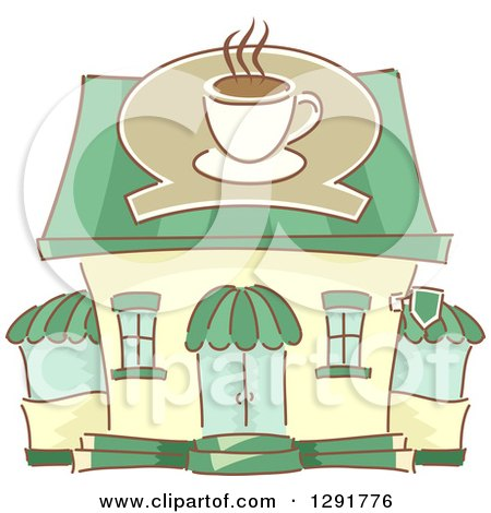 Clipart of a Sketched Coffe Shop Building - Royalty Free Vector Illustration by BNP Design Studio