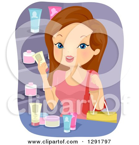 Brunette Caucasian Woman Stocking Up On Beauty Products By BNP Design Studio