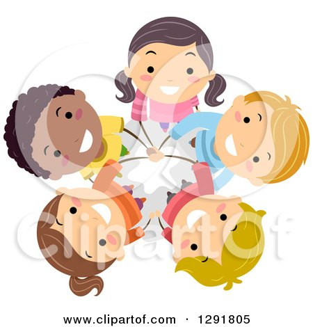 Clipart of a Circle of Happy Children Standing with Their Hands All in and Looking up - Royalty Free Vector Illustration by BNP Design Studio