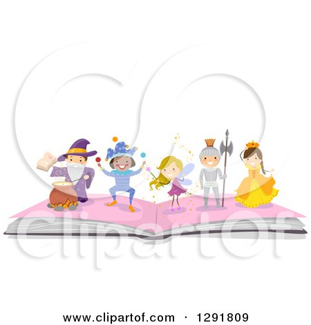 Clipart of a Happy Wizard, Jester, Fairy, Knight and Princess on an Open Book - Royalty Free Vector Illustration by BNP Design Studio
