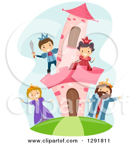 Clipart of a Happy Royal Princess, Prince, King and Queen at a Pink Castle - Royalty Free Vector Illustration by BNP Design Studio