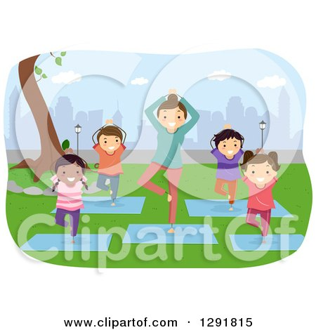 Clipart of a Female Teacher and Children Doing Yoga in a City Park - Royalty Free Vector Illustration by BNP Design Studio