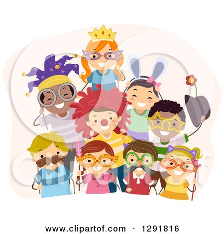Clipart of a Group of Happy Children with Mustache, Wig and Sunglasses Photo Booth Props - Royalty Free Vector Illustration by BNP Design Studio