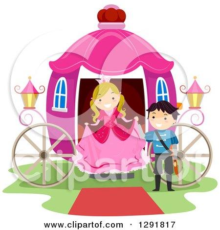 Clipart of a Chivalrous Prince Helping a Princess Step out of a Pink Carriage - Royalty Free Vector Illustration by BNP Design Studio