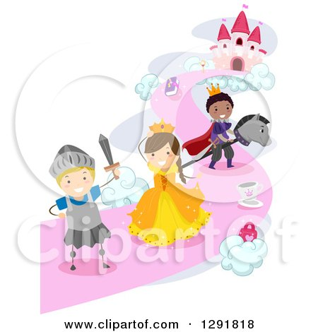 Clipart of Children Imagining They Are Princes, Princesses and Knights at a Castle - Royalty Free Vector Illustration by BNP Design Studio