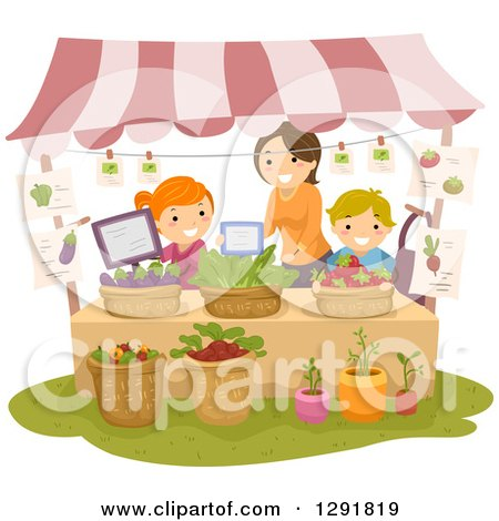 Clipart of a Friendly Woman Teaching Children How to Operate a Fruit and Vegetable Produce Stand - Royalty Free Vector Illustration by BNP Design Studio