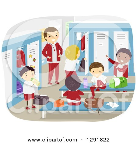 Clipart of a Happy Coach Supervising Boys Changing in a Locker Room - Royalty Free Vector Illustration by BNP Design Studio