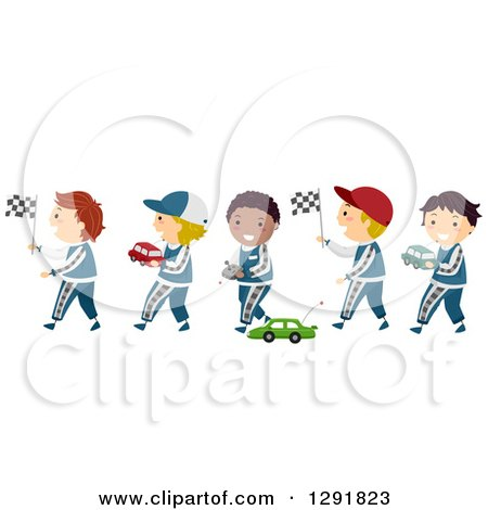 Clipart of a Line of Happy Boys in Racing Uniforms, Carrying Flags and Playing with Toy Race Cars - Royalty Free Vector Illustration by BNP Design Studio