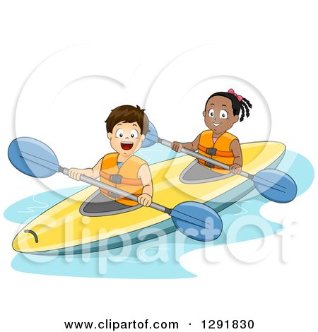 Clipart of a Happy White Boy and Black Girl Kayaking - Royalty Free Vector Illustration by BNP Design Studio
