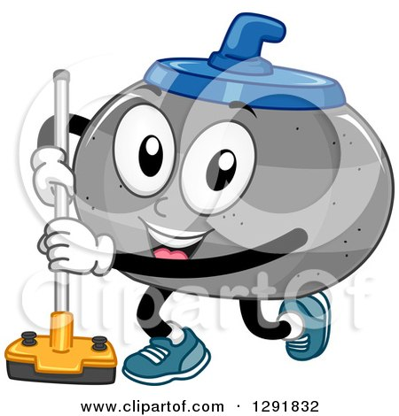 Clipart of a Cartoon Happy Curling Stone Character with a Broom - Royalty Free Vector Illustration by BNP Design Studio