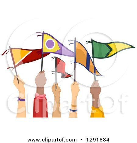 Clipart of White and Black Hands Holding up College Flags - Royalty Free Vector Illustration by BNP Design Studio