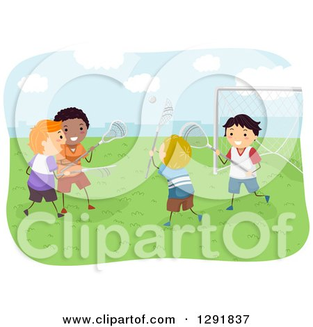 Clipart of Happy Boys Playing Lacrosse Outdoors - Royalty Free Vector Illustration by BNP Design Studio