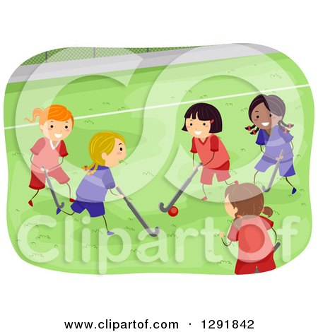 Clipart of a Group of Girls Playing Field Hockey - Royalty Free Vector Illustration by BNP Design Studio