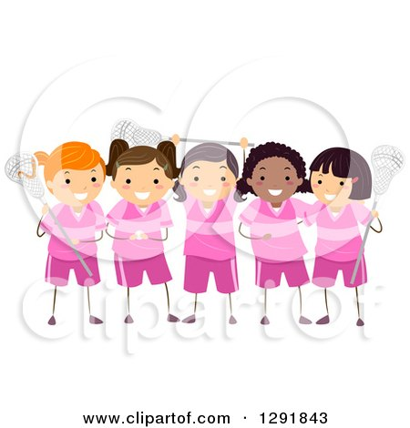 Clipart of a Team of Lacrosse Player Girls in Pink Uniforms - Royalty Free Vector Illustration by BNP Design Studio