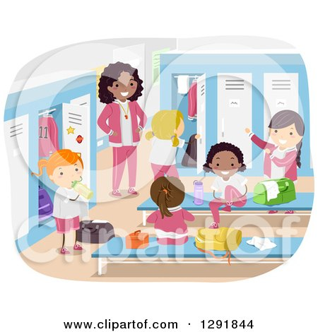 Clipart of a Female Coach Supervising Girls in a Locker Room - Royalty Free Vector Illustration by BNP Design Studio