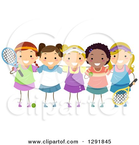 Clipart of a Girls Tennis Team with Equipment - Royalty Free Vector Illustration by BNP Design Studio