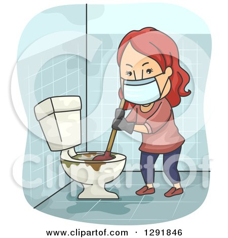 Clipart of a Cartoon Red Haired Caucasian Woman Plunging a Nasty Toilet - Royalty Free Vector Illustration by BNP Design Studio