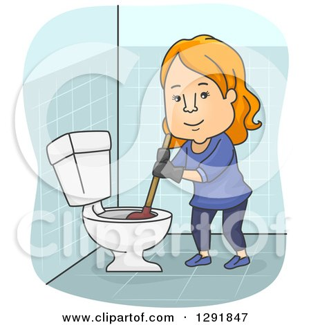 Clipart of a Cartoon Happy Red Haired White Woman Plunging a Toilet - Royalty Free Vector Illustration by BNP Design Studio