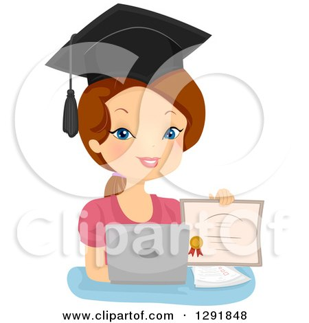 Clipart of a Proud Brunette Caucasian Woman Holding a Diploma by a Laptop Computer - Royalty Free Vector Illustration by BNP Design Studio