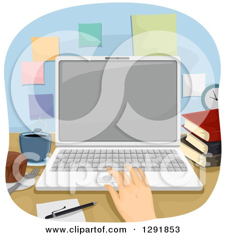 Clipart of a Caucasian Hand Using a Laptop at an Office Desk - Royalty Free Vector Illustration by BNP Design Studio