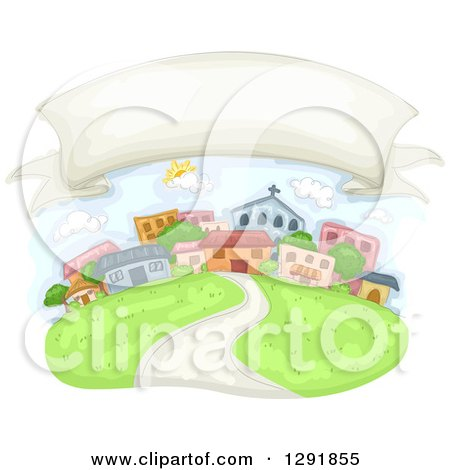 Clipart of a Blank Banner in the Sky over a Community - Royalty Free Vector Illustration by BNP Design Studio