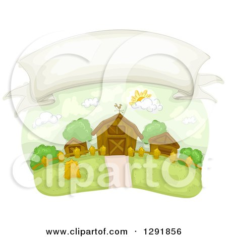 Clipart of a Blank Banner in the Sky over a Country Farm - Royalty Free Vector Illustration by BNP Design Studio