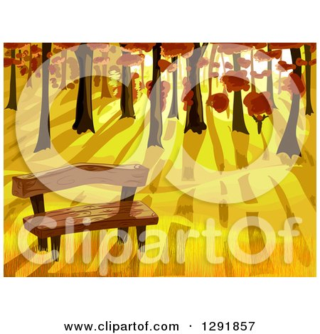 Clipart of a Wood Bench at the Edge of an Autumn Forest at Sunset - Royalty Free Vector Illustration by BNP Design Studio
