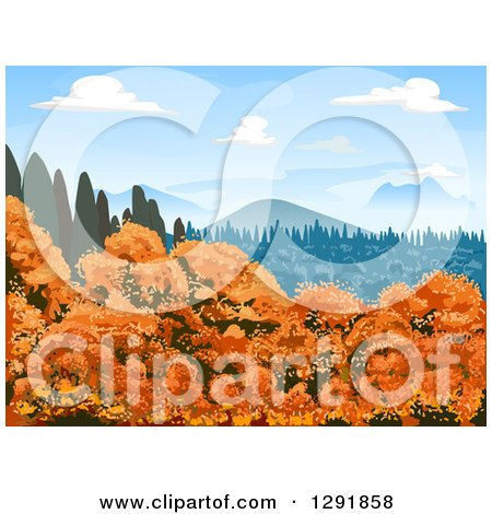 Clipart of a Landscape of Autumn Trees, Evergreens and Mountains on a Sunny Day - Royalty Free Vector Illustration by BNP Design Studio