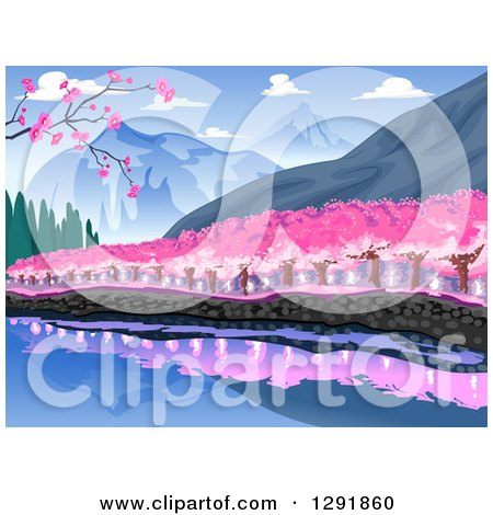 Clipart of a Waterfront Line of Cherry Trees at the Base of a Mountain - Royalty Free Vector Illustration by BNP Design Studio