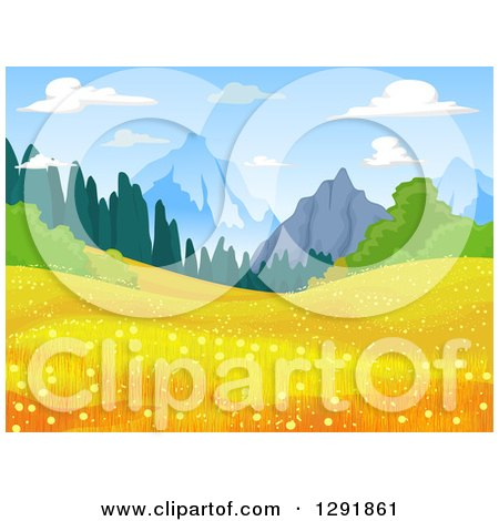 Clipart of a Meadow with Golden Flowers and Mountains in the Distance - Royalty Free Vector Illustration by BNP Design Studio
