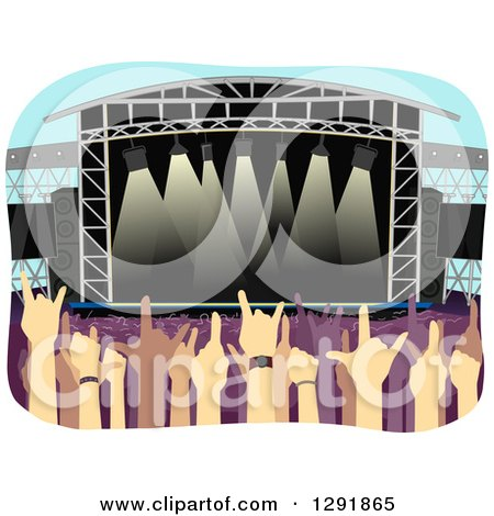 Clipart of an Open Air Stadium with Concert Fans - Royalty Free Vector Illustration by BNP Design Studio