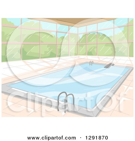 Clipart of a Window Wall Around an Indoor Swimming Pool - Royalty Free Vector Illustration by BNP Design Studio