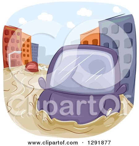 Clipart of a Car Caught in a City Flood - Royalty Free Vector Illustration by BNP Design Studio