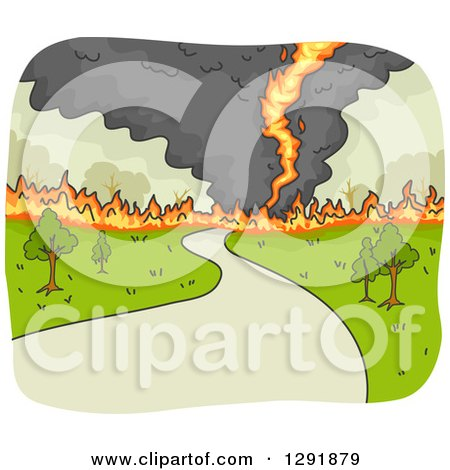 Clipart of a Fire Tornado Crossing a Road - Royalty Free Vector Illustration by BNP Design Studio