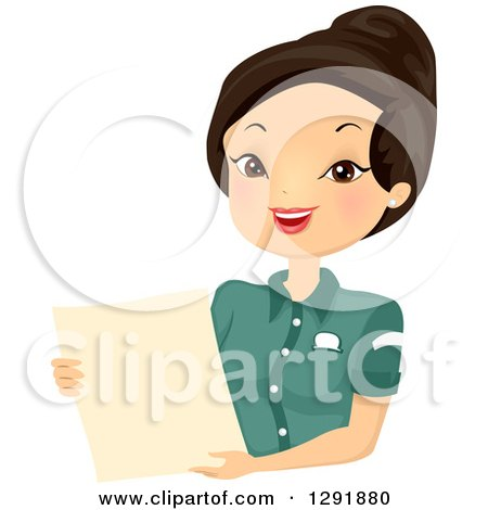 Clipart of a Friendly Asian Waitress Holding a Restaurant Menu - Royalty Free Vector Illustration by BNP Design Studio