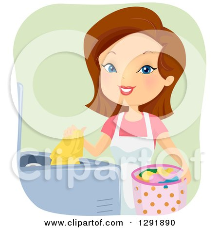 Clipart of a Happy Brunette Caucasian Woman Starting a Load of Laundry - Royalty Free Vector Illustration by BNP Design Studio