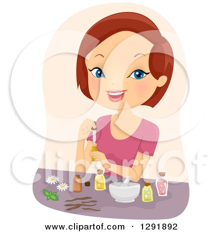 Clipart of a Brunette Caucasian Woman Mixing Essential Oils - Royalty Free Vector Illustration by BNP Design Studio