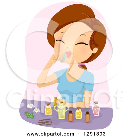 Clipart of a Brunette Caucasian Woman Smelling Essential Oils - Royalty Free Vector Illustration by BNP Design Studio
