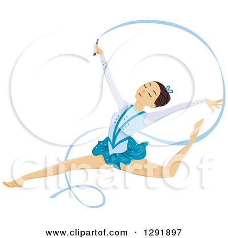 Clipart of a Brunette Female Ribbon Dancer Gymnast Leaping - Royalty Free Vector Illustration by BNP Design Studio