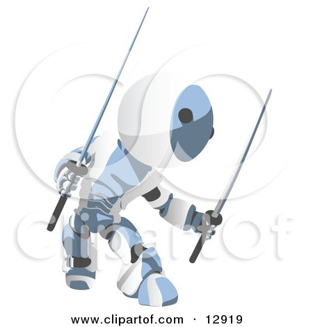 Blue Metal Robot Ninja With Two Swords Clipart Illustration by Leo Blanchette