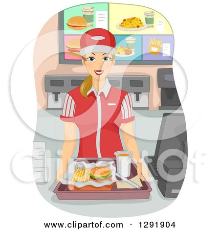 Clipart of a Blond Caucasian Female Fast Food Restaurant Worker Holding a Tray at a Counter - Royalty Free Vector Illustration by BNP Design Studio