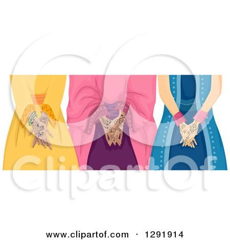 Clipart of Three Muslim Girls with Henna Tattoos on Their Hands - Royalty Free Vector Illustration by BNP Design Studio
